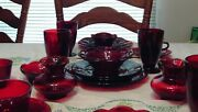 5 Place Setting O Ruby Red Depression Era Plates Great Vintage Condition