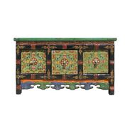 Chinese Tibetan Distressed Red Green Pigment Drawers Coffee Table Cs5790