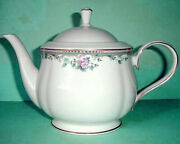 Lenox Spring Vista Teapot Floral Border And Gold Trim New In Box