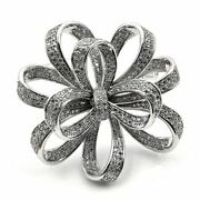 Victorian Vintage Brooches Pin Silvertone Micro Pave Clear Cz Ribbon Bow Broach