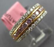 Estate .91ct White And Pink Diamond 18kt White And Rose Gold 3 Row Anniversary Ring