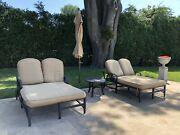 Outdoor Furniture Cushion Set Beige Cushions With Brown Steel Frame.