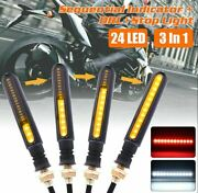 Motorcycle 10mm Sequential Flowing Led Turn Signal Indicator + Drl + Stop Light