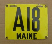 Maine 1912 Motorcycle License Number Plate A 18 Modern Reproduction Space Filler