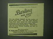 1948 Barling Pipes Ad - Manufactured Entirely In London, England