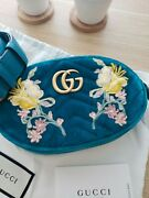 ♡nwt Gg Marmont 2.0 Embroidered Velvet Belt Bag Fanny Pack Watergreen Sz85