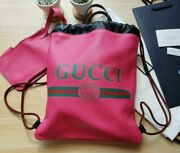 ♡nwt♡ Print Hot Pink Leather Drawstring Backpack