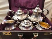 5-piece Reed And Barton Georgian Rose Sterling Silver Coffee Tea Set + Trunk Case