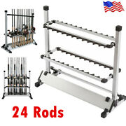 24 Rods Aluminum Alloy Portable Rack Fishing Rod Pole Holder Stand Storage Tool