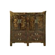 Chinese Distressed Dark Brown Vintage Graphic Tall Credenza Cabinet Cs5807
