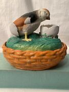 Vtg Antique Staffordshire Pottery Hen Chick On Nest Hatching Egg Covered Tureen