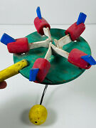 Antique Folk Art Rustic Pecking Chicken Paddle Toy Depression Era Hand-painted