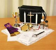 Gold Plated Priest Mass Kit Includes Chalice Paten Pyx Crucifix Candles Stole+