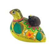 Vintage Hand Painted Colorful Terra Cotta Bird With Pin Cushion Mexican Folk Art