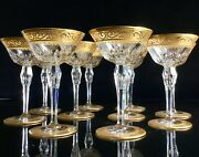 10 St Louis Crystal Stella Champagne Glasses Gold Encrusted Signed
