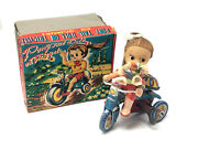 Vintage Kanto Toys Pony Tail Doll On Tricycle, Celluloid, Wind-up, With Box