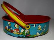 Disney 1930's Donald Duck And Friends Lithographed Tin Sand Sifter By Ohio Art