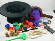 Vtg Magic Magician Lot 20+ Collapsible Hat Change Bag Fake Thumbs Rope Trick