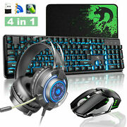Gaming Keyboard + Mouse + Headset + Mice Pad Wireless Rechargeable Led Backlight