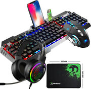 Rgb Led Gaming Keyboard And Mouse Set Wired + Headset For Pc Laptop Ps4 Xbox One