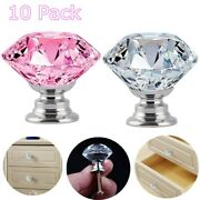 10pcs Door Handle Diamond Crystal Clear Glass Cabinet Drawer Pull Knobs Home Us