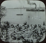 People Sitting At Tables + Busy Harbor W/ Cpa Koch Ship, Antique Photo On Glass