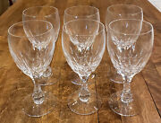 Set Of 6 Kosta Boda Crystal Fontain Clear -- 6-1/2 Water Goblets Glasses
