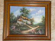 English Cottage English Garden Original Oil Painting Signed By Artist Marten