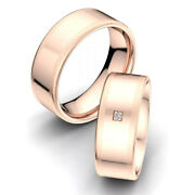 Real Diamond Round 0.10 Ct 14k Solid Rose Gold Couple Band All Size Available