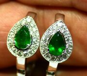 1.67ct 18k Gold Natural Emerald Diamond Drop Halo Engagement Earrings Vintage