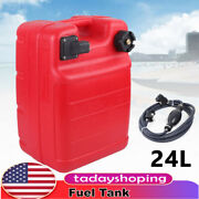 24l Outboard Boat Fuel Tank W/ Connector External Interface + Fuel Line Portable
