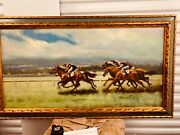 The Horse Race Signed English Oil Painting C.1970and039s