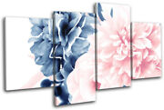 Peony Flower Peach Navy Floral Multi Canvas Wall Art Picture Print