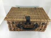Vintage Picnic And Car Trunk Wicker Basket For Two Vv. Good Plates/silverware 588