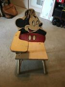 Antique Disney Mickey Mouse Wooden Childs School Desk Chair Original And Very Old