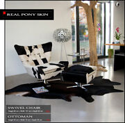 Amazing Lounge Swivel Chair V-shape Made With Real Pony Skin.