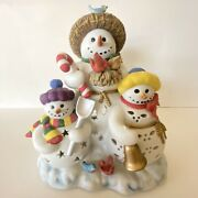Partylite Porcelain Snowbell Snowman Tealight Holder P7702 With Box