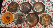 Vintage Norman Rockwell Decorative Collector Plates Lot Of 7 1978-1982