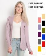 Womenand039s Long Sleeve Open Front Cardigan With Pointelle Detail Cotton And Rayon
