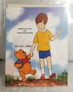 Winnie The Pooh And Christopher Robin Ghana Postage Stamp Cert. Of Authenticity