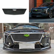 For Cadillac Ct6 2019-2020 Abs Black Sport-v Front Grille Grill Cover Trim 1set