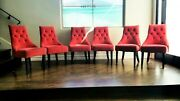 Cost Plus World Red Velvet Plushed Dining Chair Sets Set Of Six Used
