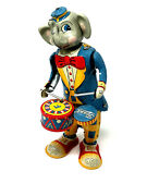Vintage Tk Fossil Elephant Playing Drums, Wind-up