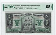 1925 Banque Canadienne Nationale 5 Note Cat 851002 Sna 2558647 Pmg Unc-65 Epq