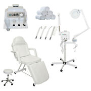 3 In 1 Facial Steamer Magnify Lamp High Frequency Stationary Bed Salon Equipment