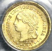 1874 Pcgs Ms 62 Colombia Gold 1 Peso Condor Bogota 14k Minted Coin 20061601d