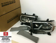 New Oem Toyota Sequoia Black Led Front Headlights And Extension Panels
