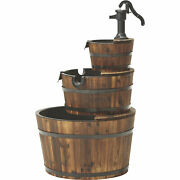 3-tier Half Barrels Wooden Waterfall Fountain W/ Pump Garden Patio Outdoor Dandeacutecor