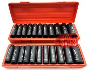 22pc 1/2 Drive Deep Impact Socket Set Sae And Metric 6 Point Sockets W/ Case New