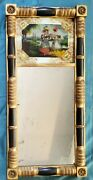 Antique Federal Gilt Wood Reverse Painted Mirror Ladies In Hats 18x 37